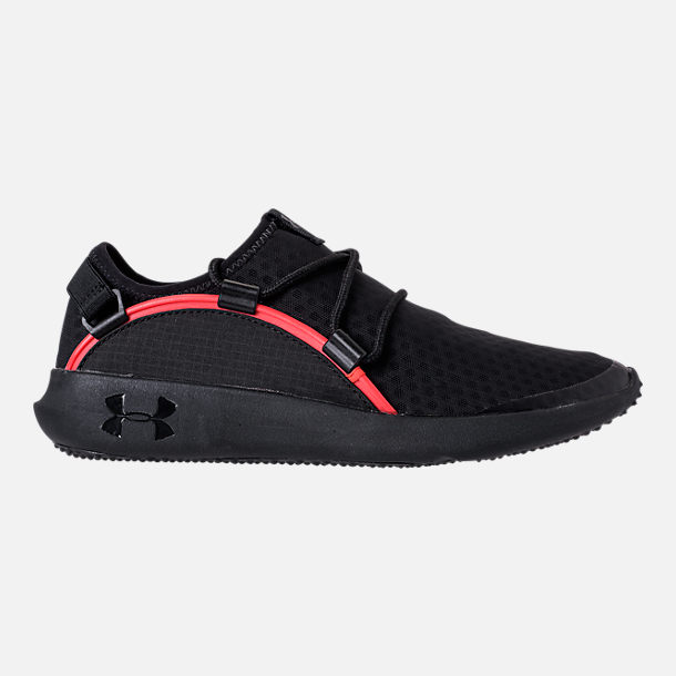 Right view of Boys' Grade School Under Armour RailFit 1 Running Shoes in Black/Red