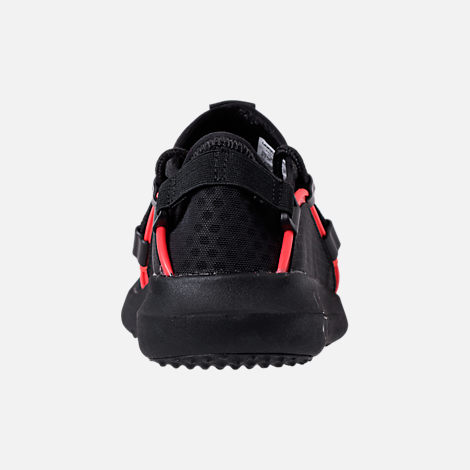 Back view of Boys' Grade School Under Armour RailFit 1 Running Shoes in Black/Red