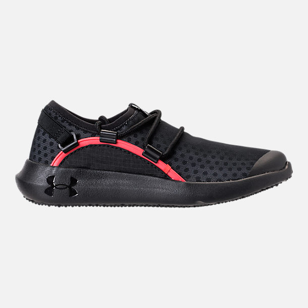 Right view of Boys' Preschool Under Armour RailFit 1 Running Shoes in Black/Red