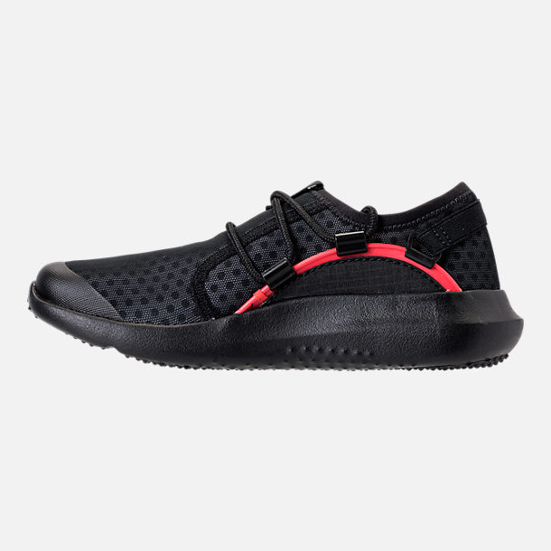 Left view of Boys' Little Kids' Under Armour RailFit 1 Running Shoes in Black/Red