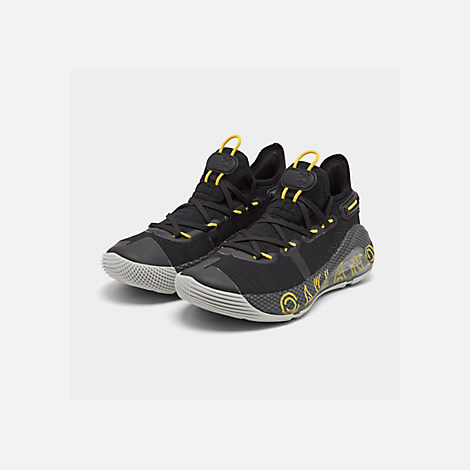 Three Quarter view of Big Kids' Under Armour Curry 6 Basketball Shoes in Black/Elemental/Black
