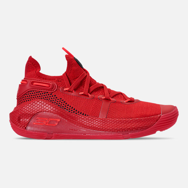 Right view of Big Kids' Under Armour Curry 6 Basketball Shoes in Red/Black/Red Rage