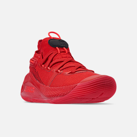 Three Quarter view of Big Kids' Under Armour Curry 6 Basketball Shoes in Red/Black/Red Rage