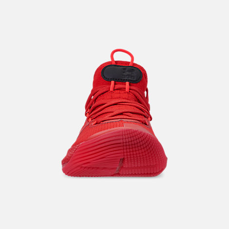 Front view of Big Kids' Under Armour Curry 6 Basketball Shoes in Red/Black/Red Rage