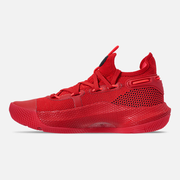Left view of Big Kids' Under Armour Curry 6 Basketball Shoes in Red/Black/Red Rage