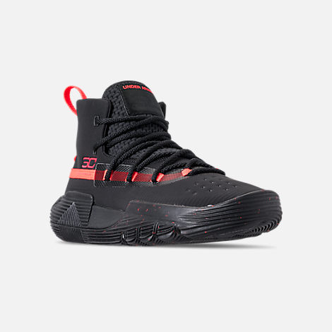 Three Quarter view of Big Kids' Under Armour SC 3ZERO II Basketball Shoes