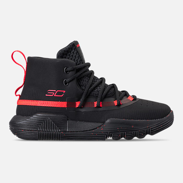 Right view of Little Kids' Under Armour SC 3ZERO II Basketball Shoes in Black/Black/After Burn