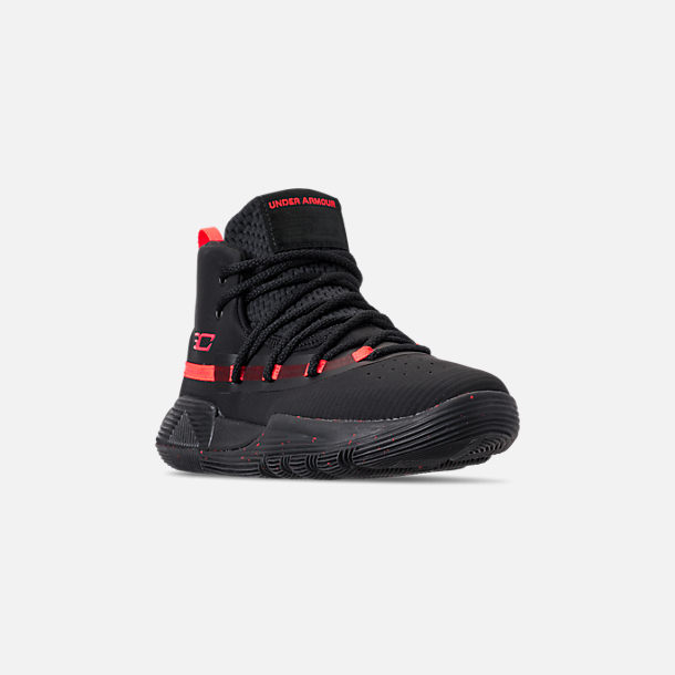 Three Quarter view of Little Kids' Under Armour SC 3ZERO II Basketball Shoes in Black/Black/After Burn