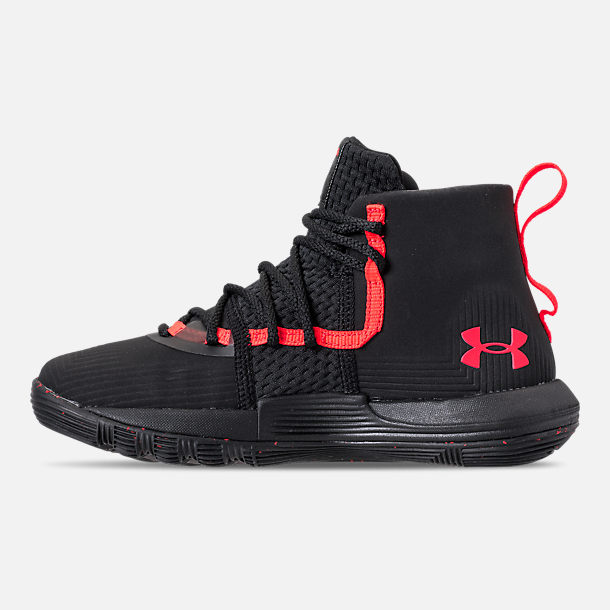 Left view of Little Kids' Under Armour SC 3ZERO II Basketball Shoes in Black/Black/After Burn