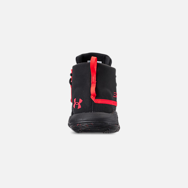 Back view of Little Kids' Under Armour SC 3ZERO II Basketball Shoes in Black/Black/After Burn