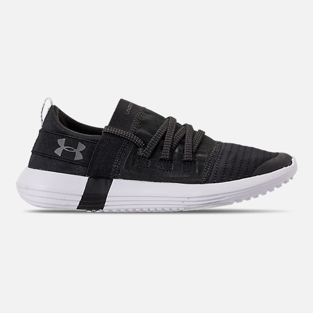 Right view of Boys' Big Kids' Under Armour Adapt Running Shoes in Black/White