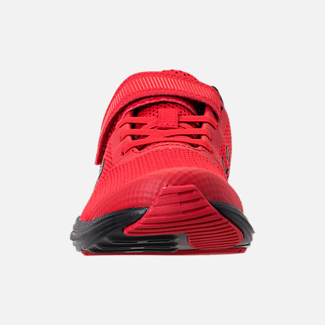 Front view of Boys' Little Kids' Under Armour Surge AC Hook-and-Loop Closure Running Shoes in Red/Black/Black