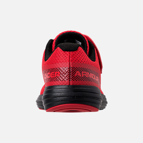 Back view of Boys' Little Kids' Under Armour Surge AC Hook-and-Loop Closure Running Shoes in Red/Black/Black