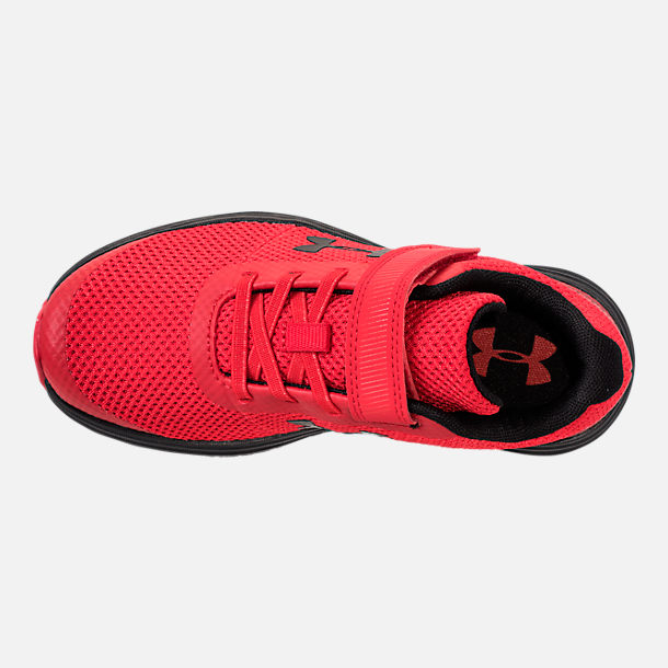 Top view of Boys' Little Kids' Under Armour Surge AC Hook-and-Loop Closure Running Shoes in Red/Black/Black