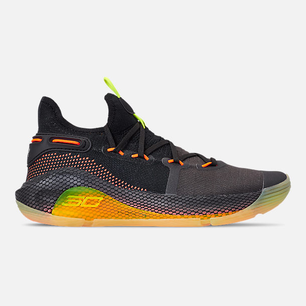 Right view of Men's Under Armour Curry 6 Basketball Shoes in Black/High Vis Yellow