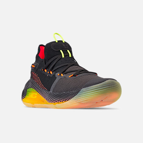 Three Quarter view of Men's Under Armour Curry 6 Basketball Shoes in Black/High Vis Yellow