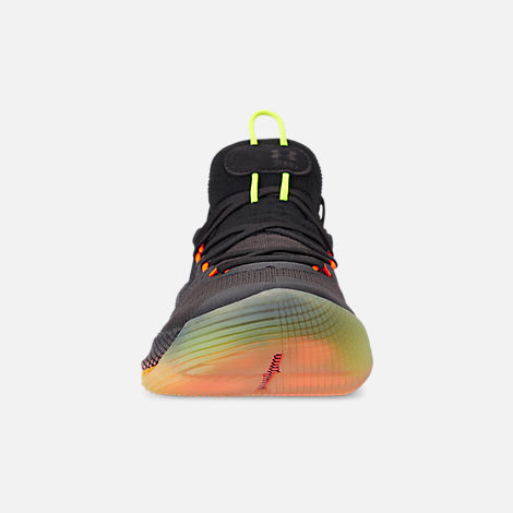 Front view of Men's Under Armour Curry 6 Basketball Shoes in Black/High Vis Yellow