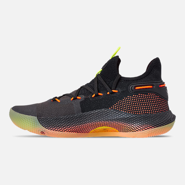 Left view of Men's Under Armour Curry 6 Basketball Shoes in Black/High Vis Yellow