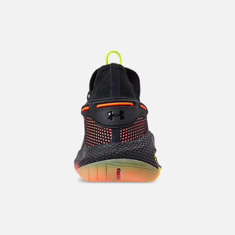 Back view of Men's Under Armour Curry 6 Basketball Shoes in Black/High Vis Yellow