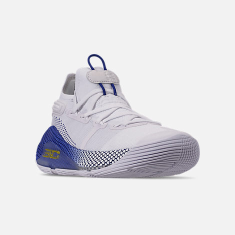 Three Quarter view of Men's Under Armour Curry 6 Basketball Shoes in White/Royal/White