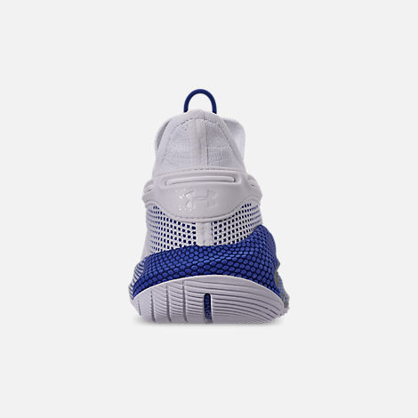 Back view of Men's Under Armour Curry 6 Basketball Shoes in White/Royal/White