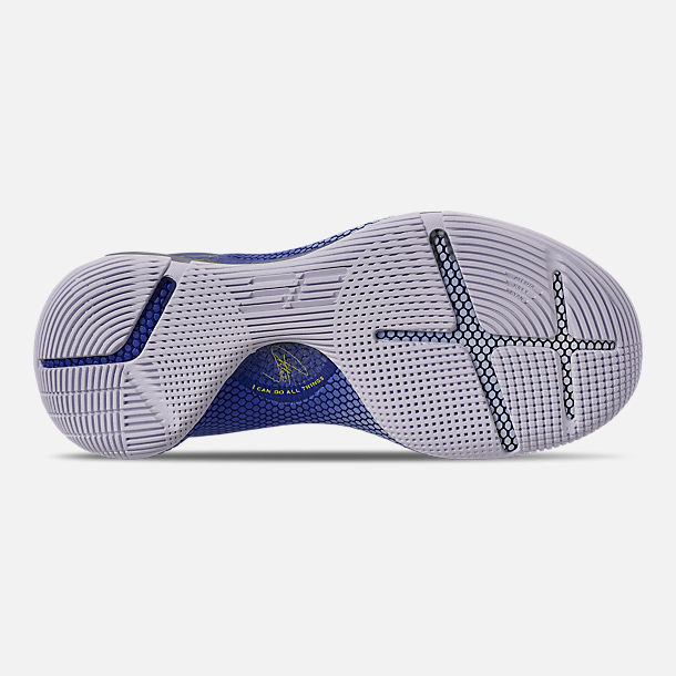 Bottom view of Men's Under Armour Curry 6 Basketball Shoes in White/Royal/White