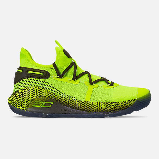 89e144a2228d7b Right view of Men s Under Armour Curry 6 Basketball Shoes in High Vis Yellow