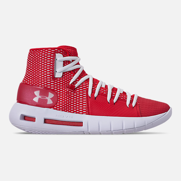 Right view of Men's Under Armour HOVR Havoc Mid Basketball Shoes in Red/White/White