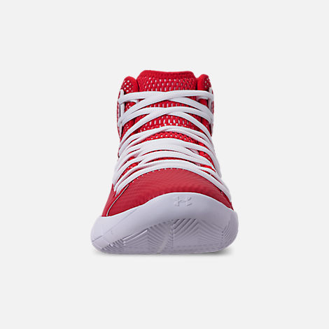 Front view of Men's Under Armour HOVR Havoc Mid Basketball Shoes in Red/White/White