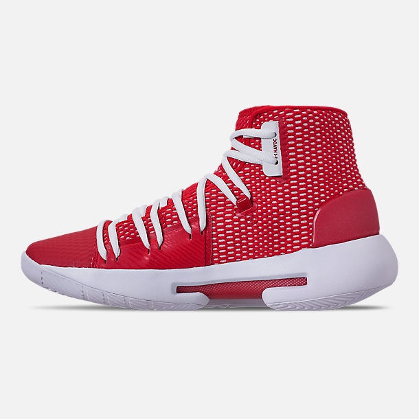 Left view of Men's Under Armour HOVR Havoc Mid Basketball Shoes in Red/White/White