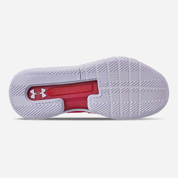 Bottom view of Men's Under Armour HOVR Havoc Mid Basketball Shoes in Red/White/White