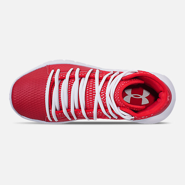 Top view of Men's Under Armour HOVR Havoc Mid Basketball Shoes in Red/White/White
