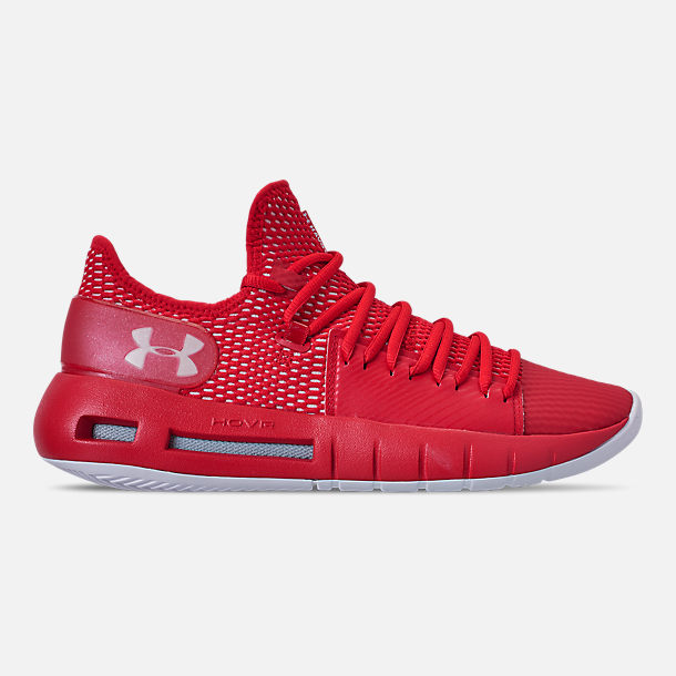 Right view of Men's Under Armour HOVR Havoc Low Basketball Shoes in Red/White/White