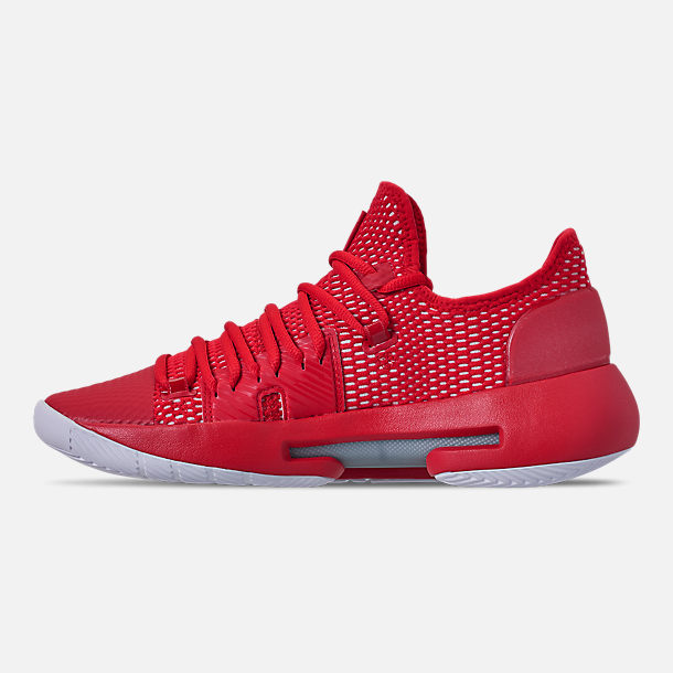 Left view of Men's Under Armour HOVR Havoc Low Basketball Shoes in Red/White/White