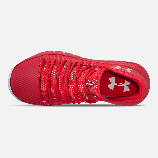 Top view of Men's Under Armour HOVR Havoc Low Basketball Shoes in Red/White/White