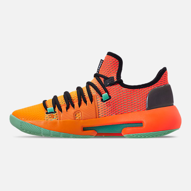 Left view of Men's Under Armour HOVR Havoc Low Basketball Shoes in Magma Orange/Formula Orange/Antifreeze