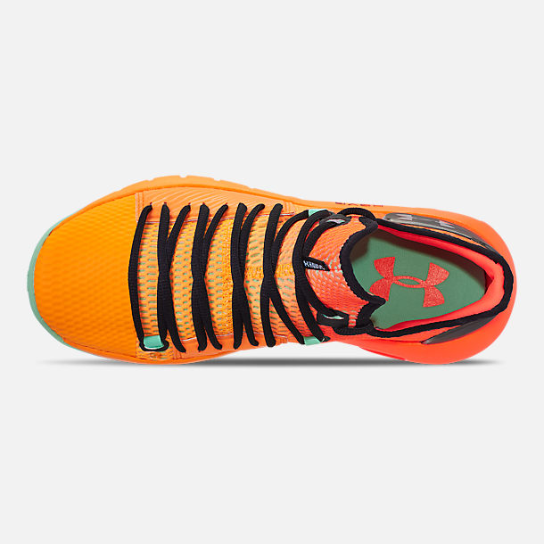 Top view of Men's Under Armour HOVR Havoc Low Basketball Shoes in Magma Orange/Formula Orange/Antifreeze