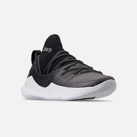 Three Quarter view of Men's Under Armour Curry 5 Basketball Shoes in White/Black/Metallic Silver
