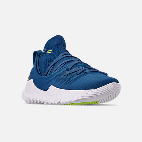 Three Quarter view of Men's Under Armour Curry 5 Basketball Shoes in Moroccan Blue/White/Yellow