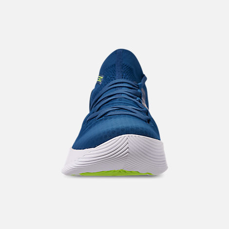 Front view of Men's Under Armour Curry 5 Basketball Shoes in Moroccan Blue/White/Yellow