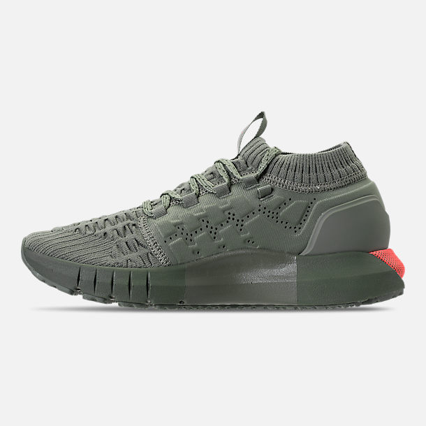 Left view of Boys' Grade School Under Armour HOVR Phantom Running Shoes in Moss Green/Downtown Green