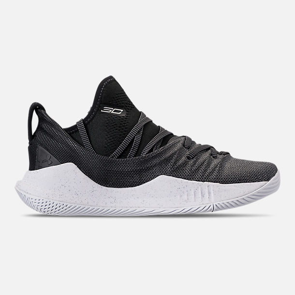 Right view of Big Kids' Under Armour Curry 5 Basketball Shoes in White/Black/Metallic Silver
