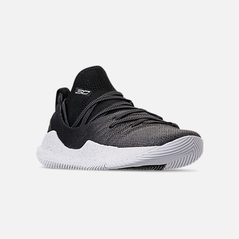 Three Quarter view of Big Kids' Under Armour Curry 5 Basketball Shoes in White/Black/Metallic Silver