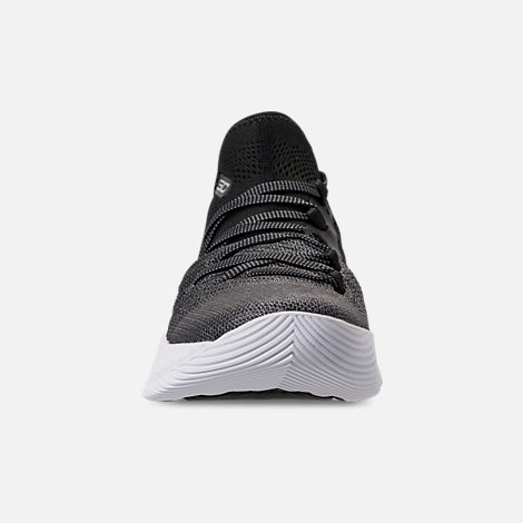 Front view of Big Kids' Under Armour Curry 5 Basketball Shoes in White/Black/Metallic Silver