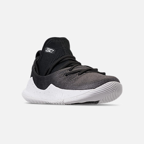 Three Quarter view of Little Kids' Under Armour Curry 5 Basketball Shoes in White/Black/Metallic Silver