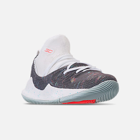 Three Quarter view of Boys' Preschool Under Armour Curry 5 Basketball Shoes in White/White/Neon Coral