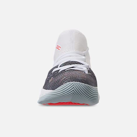 Front view of Boys' Preschool Under Armour Curry 5 Basketball Shoes in White/White/Neon Coral