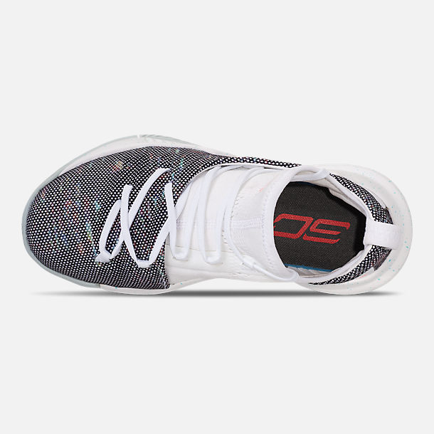 Top view of Little Kids' Under Armour Curry 5 Basketball Shoes in White/White/Neon Coral