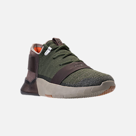 Three Quarter view of Boys' Grade School Under Armour C1N TR Casual Shoes in Downtown Green/Nori Green/Maverick