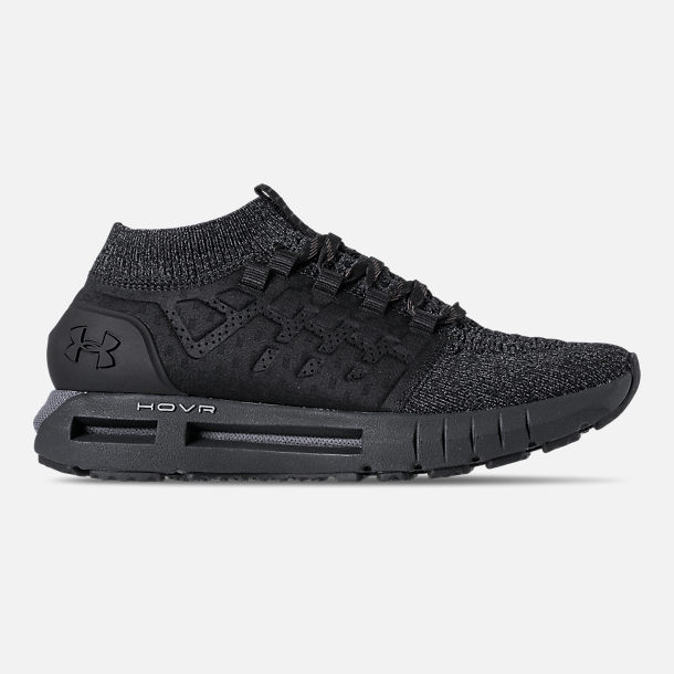 Right view of Men's Under Armour HOVR Phantom Heather Running Shoes in Black/Anthracite/Black